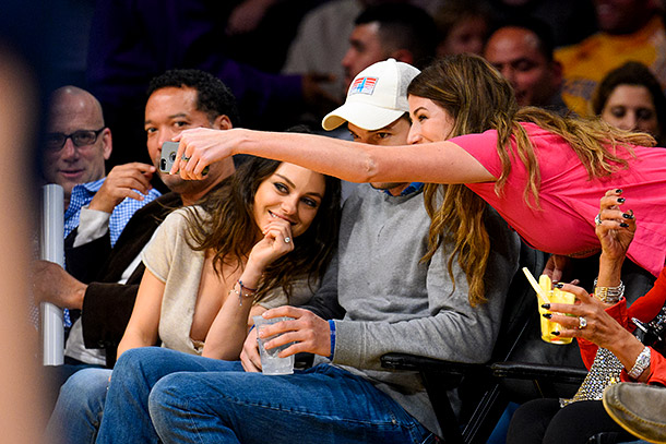 Ashton Kutcher and Mila Kunis selfie