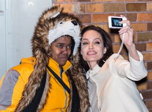 Angelina Jolie selfie with her fan