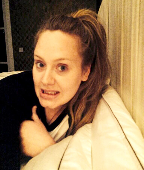 Adele without makeup selfie