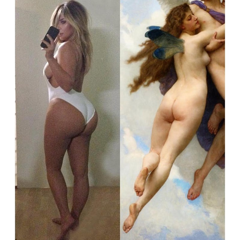 Kim Kardashian sexy selfie vs the classics