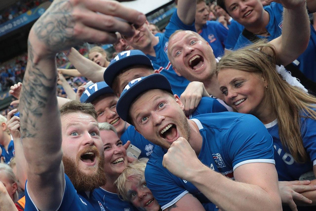 Iceland National team fans celebrating victory