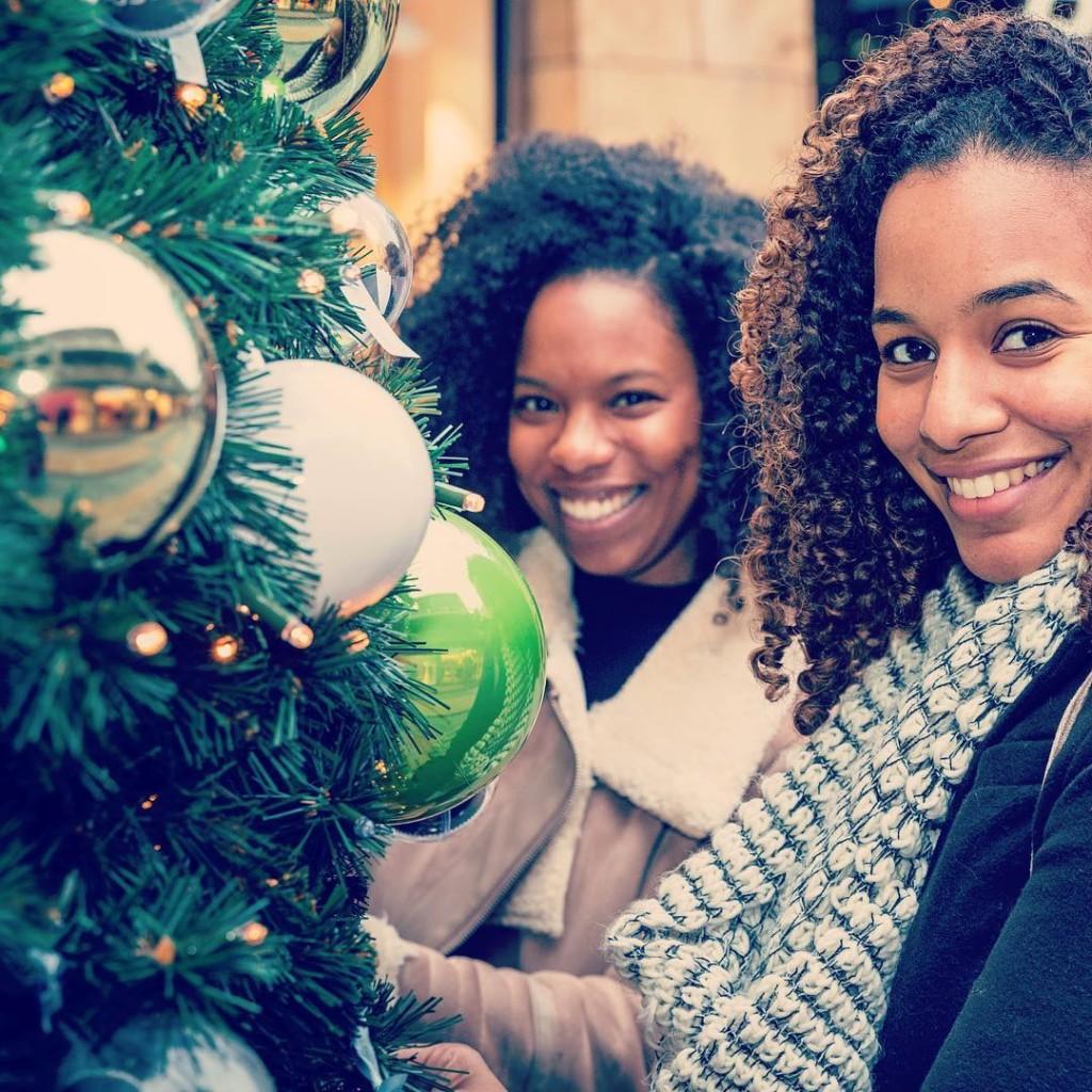 Christmas tree selfie friends