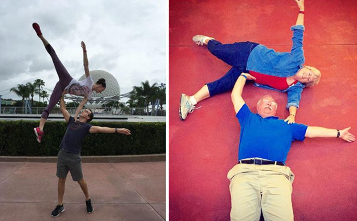 grandparents copying their children selfie
