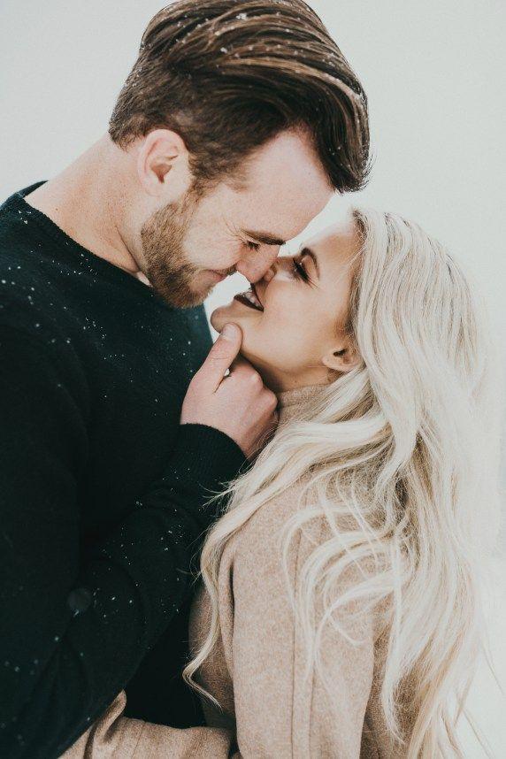 taking romantic winter selfies