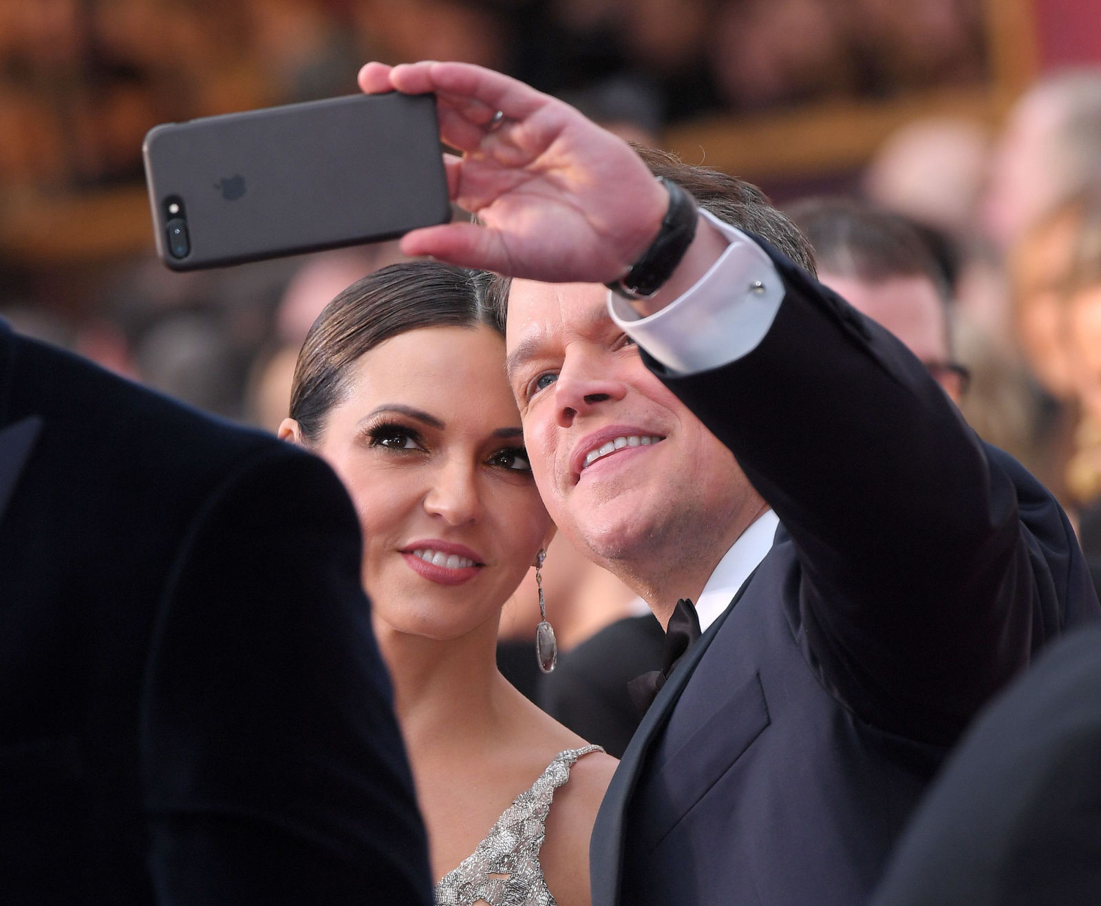 The Oscar selfies celebrities Matt Damon and Luciana Barroso